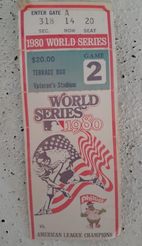 Un billet des Séries mondiales de 1980