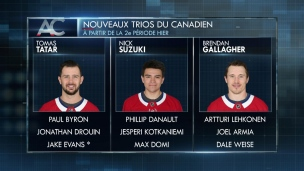 Les nouveaux trios du Canadien créent plus d'occasions