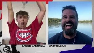 Danick et Martin célèbrent la victoire du CH!