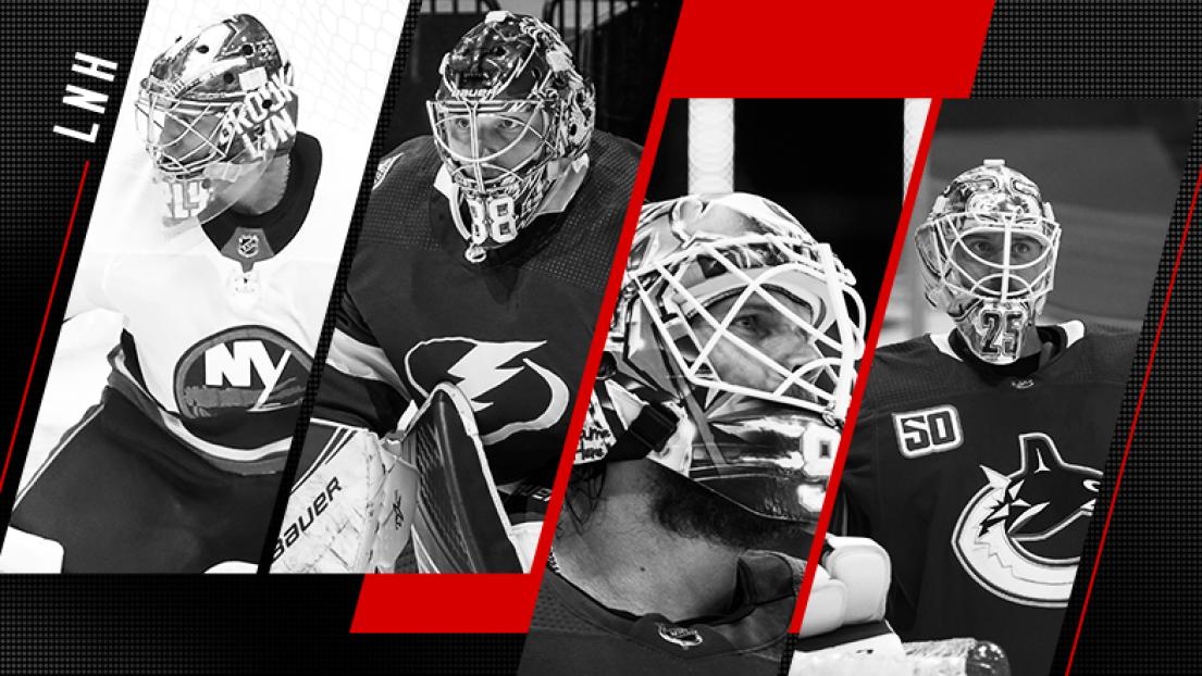 Semyon Varlamov, Andrei Vasilevskiy, Robin Lehner et Jacob Markstrom