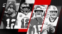 Aaron Rodgers, Tom Brady, Patrick Mahomes et Josh Allen
