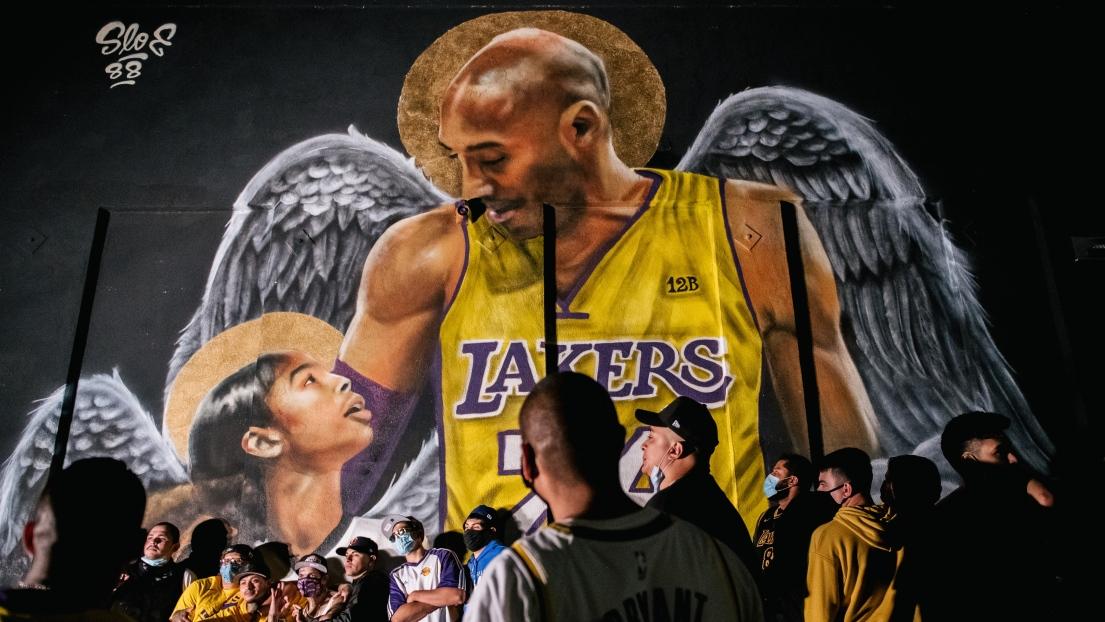 Une murale en l'honneur de Kobe Bryant et sa fille Gianna.